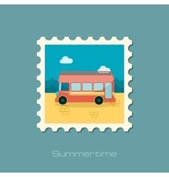 Double decker open top sightseeing city bus stamp vector image vector image