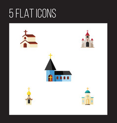 Flat icon building set of christian traditional vector