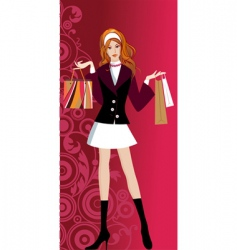 glam shopping girl vector image