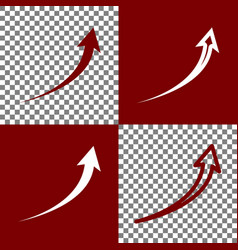 Growing arrow sign bordo and white icons vector