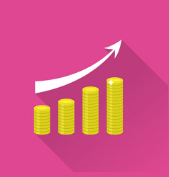 growing piles of gold coins with arrow icon vector image vector image