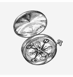 Hand-drawn vintage compass Sketch journey travel vector image