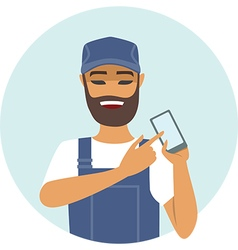 Handyman holding smart device vector image