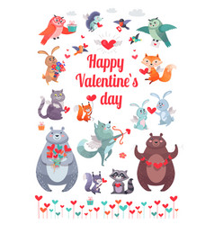 Happy valentine s day greeting card with animals vector