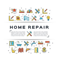 Home repair flyer construction icon house remodel vector