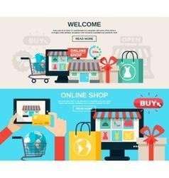 Internet Store Flat Banner Set vector image vector image