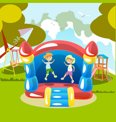 Jumping on a trampoline kids outdoor vector