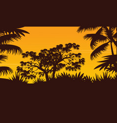 Jungle with tree and palm silhouette scenery vector
