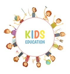 Kids Education Round Frame Cartoon Emblem vector image
