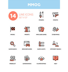 mmog - modern single line icons set vector image