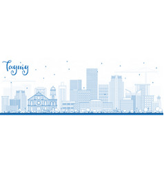outline taguig philippines skyline with blue vector image vector image