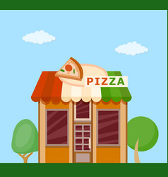 Pizzeria front view flat icon vector