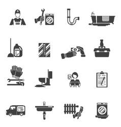 Plumber service black icons collection vector