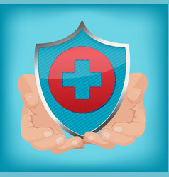 red cross shield hand hold vector image vector image