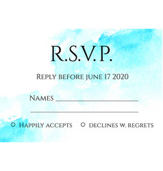 rsvp 5x7 inches card template with hand painted vector image vector image