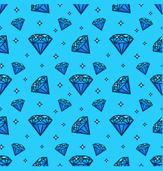 seamless pattern with gem and diamond icons vector image