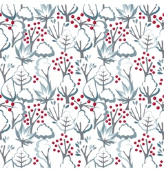 Seamless pattern with winter trees vector image vector image
