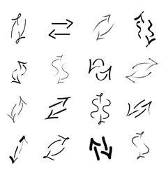 set of black arrows in different shapes vector image