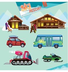 ski resort set vector image vector image