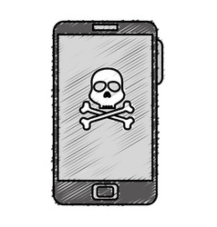Smartphone device with skull isolated icon vector