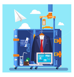Travel business trip concept businessman holding vector