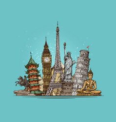 travel journey concept famous world landmarks vector image vector image