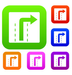 Turn right traffic sign set collection vector