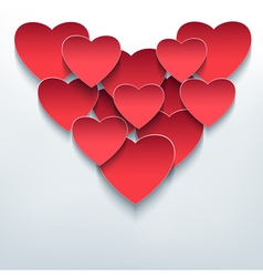 Valentine background with 3d hearts cutting paper vector