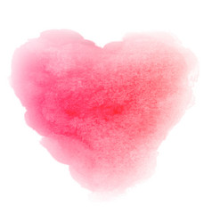 watercolor pink hand drawn heart shaped stain vector image