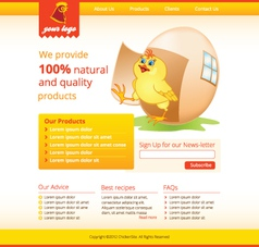 web template with chicken vector image vector image