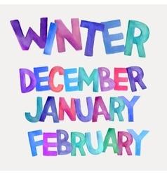 Winter season watercolor names vector