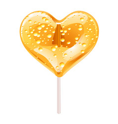 yellow lollipop in the shape of a heart design vector image vector image