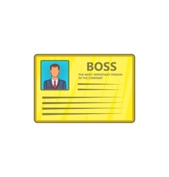 Card of boss icon cartoon style vector