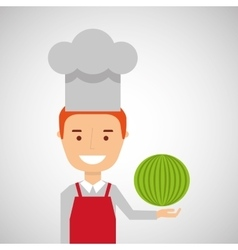 Cheerful chef fresh watermelon graphic vector
