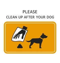 Sign clean up after your dog vector
