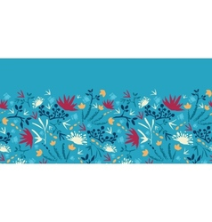Painted abstract flowers and plants horizontal vector image