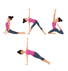 Set woman different yoga vector
