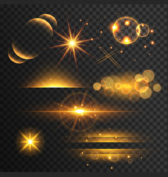 Set of golden glitters lights and sparkles with vector