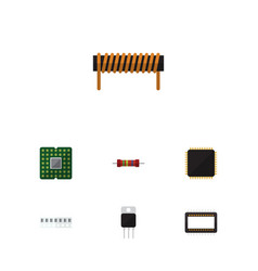 Flat icon technology set of bobbin cpu memory vector
