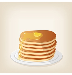 Pancakes with a piece butter vector image