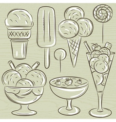 Set of different ice cream vector