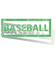 Green outlined baseball stamp vector