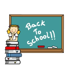 girl with books and blackboard vector image
