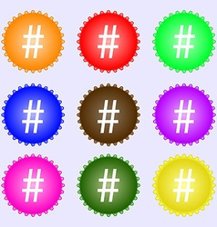 Hash tag icon a set of nine different colored vector