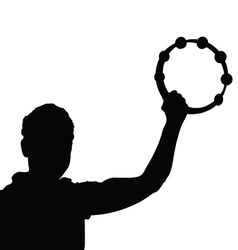 Man with tambourine silhouette vector