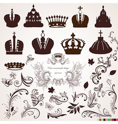 Crown and vintage ornament design vector