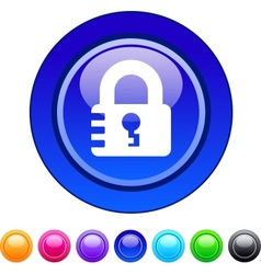 Lock circle button vector image