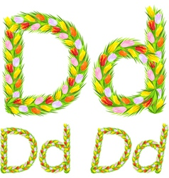 Font type letter d made from flower tulip vector