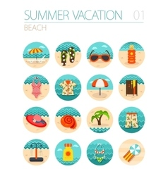 Beach icon set summer vacation vector