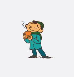 asian boy enjoying a hot drink vector image vector image